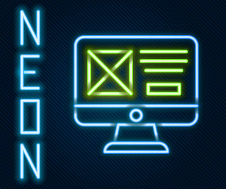 Glowing neon line UI or UX design icon isolated on black background. Colorful outline concept. Vector Illustration