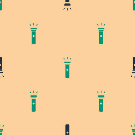 Green and black Flashlight icon isolated seamless pattern on beige background. Vector Illustration