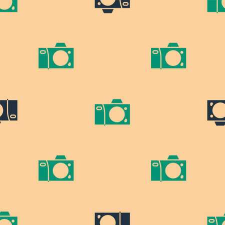 Green and black Photo camera icon isolated seamless pattern on beige background. Foto camera icon. Vector Illustration