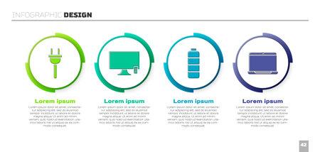 Set Electric plug, Smart Tv, Battery charge level indicator and Laptop. Business infographic template. Vector Ilustração