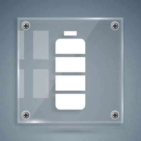 White Battery charge level indicator icon isolated on grey background. Square glass panels. Vector Illustration