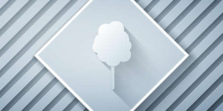 Paper cut Cotton candy icon isolated on grey background. Paper art style. Vector Illustration Illustration
