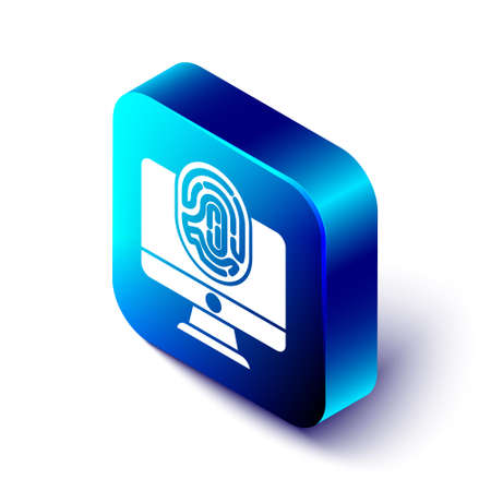 Isometric Monitor with fingerprint icon isolated on white background. ID app icon. Identification sign. Touch id. Blue square button. Vector