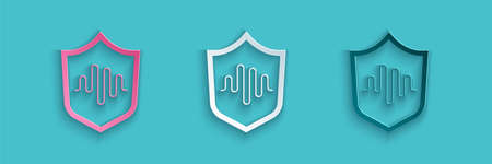 Paper cut Shield voice recognition icon isolated on blue background. Voice biometric access authentication for personal identity recognition. Paper art style. Vector Illustration