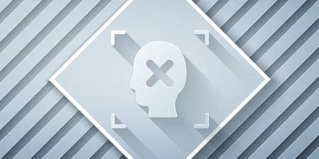 Paper cut Rejection face recognition icon isolated on grey background. Face identification scanner icon. Facial id. Cyber security concept. Paper art style. Vector