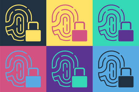 Pop art Fingerprint with lock icon isolated on color background. ID app icon. Identification sign. Touch id. Vector Illustration