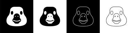 Set Goose bird icon isolated on black and white background. Animal symbol. Vector