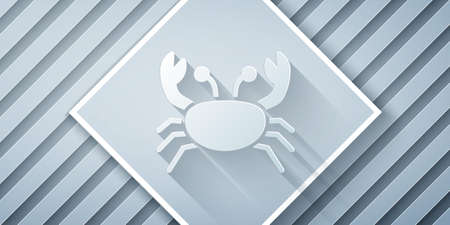 Paper cut Crab icon isolated on grey background. Paper art style. Vector