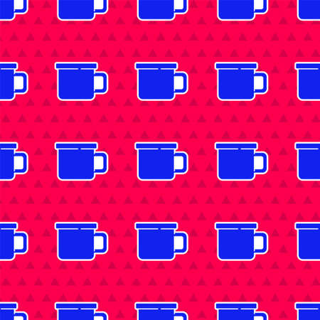 Blue Camping metal mug icon isolated seamless pattern on red background. Vector