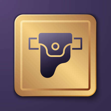 Purple Gun in holster, firearms icon isolated on purple background. Gold square button. Vector