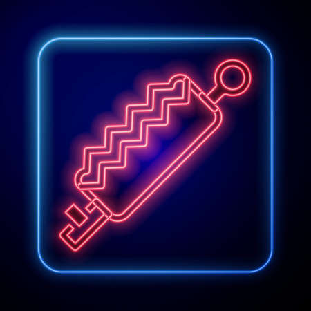 Glowing neon Trap hunting icon isolated on blue background. Vector  イラスト・ベクター素材