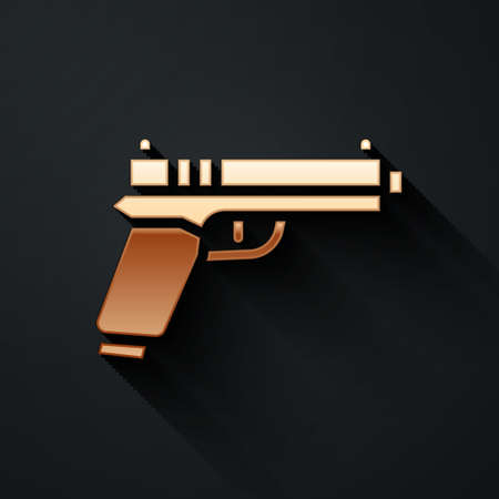 Gold Pistol or gun icon isolated on black background. Police or military handgun. Small firearm. Long shadow style. Vector  イラスト・ベクター素材