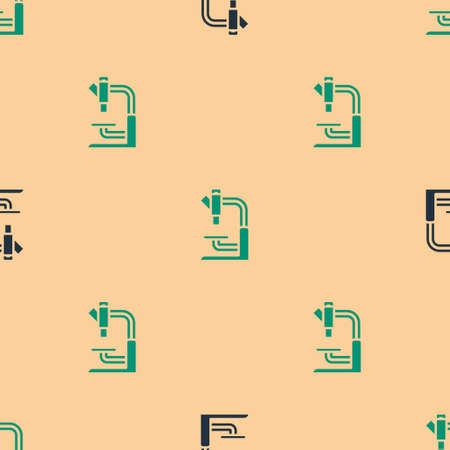 Green and black Microscope icon isolated seamless pattern on beige background. Chemistry, pharmaceutical instrument, microbiology magnifying tool. Vector  イラスト・ベクター素材