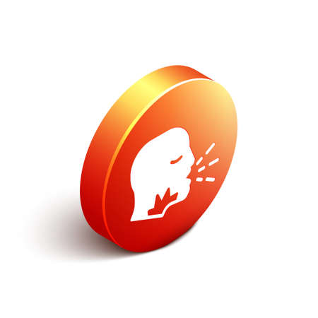 Isometric Man coughing icon isolated on white background. Viral infection, influenza, flu, cold symptom. Tuberculosis, mumps, whooping cough. Orange circle button. Vector.  イラスト・ベクター素材