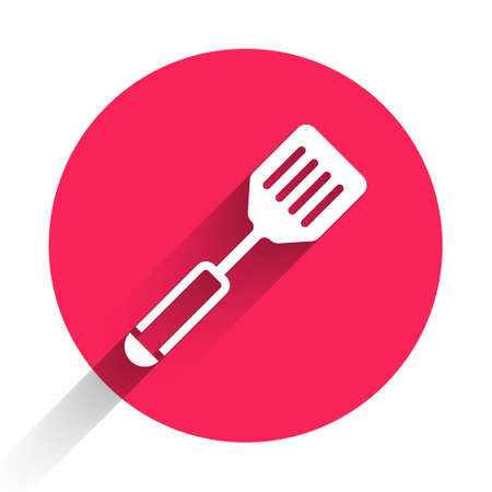 White Spatula icon isolated with long shadow. Kitchen spatula icon. BBQ spatula sign. Barbecue and grill tool. Red circle button. Vector