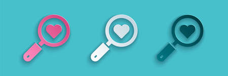 Paper cut Search heart and love icon isolated on blue background. Magnifying glass with heart inside. Paper art style. Vector
