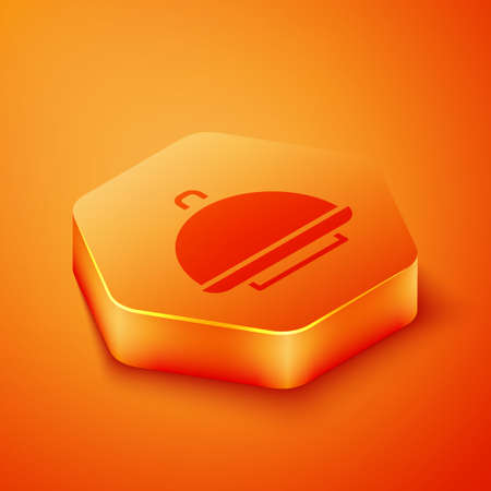 Isometric Covered with a tray of food icon isolated on orange background. Tray and lid sign. Restaurant cloche with lid. Orange hexagon button. Vector  イラスト・ベクター素材