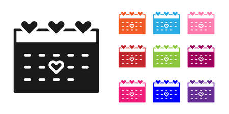 Black Calendar with heart icon isolated on white background. Valentines day. Love symbol. February 14. Set icons colorful. Vector  イラスト・ベクター素材