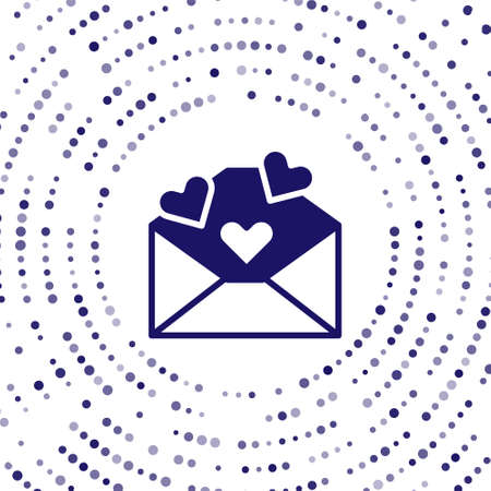 Blue Envelope with Valentine heart icon isolated on white background. Message love. Letter love and romance. Abstract circle random dots. Vector