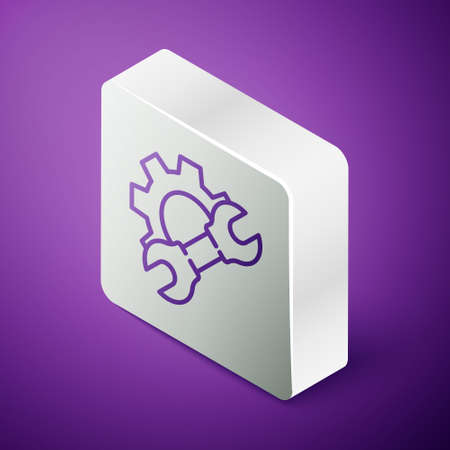 Isometric line Wrench spanner and gear icon isolated on purple background. Adjusting, service, setting, maintenance, repair, fixing. Silver square button. Vector Illustration  イラスト・ベクター素材