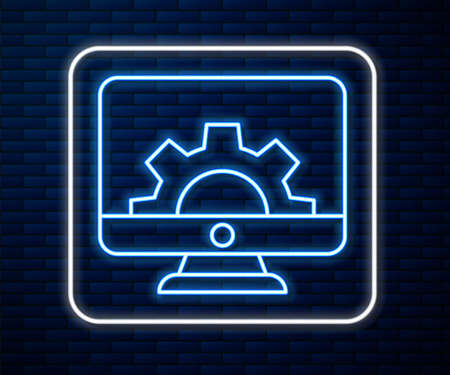 Glowing neon line Computer monitor and gear icon isolated on brick wall background. Adjusting, service, setting, maintenance, repair, fixing. Vector Illustration  イラスト・ベクター素材