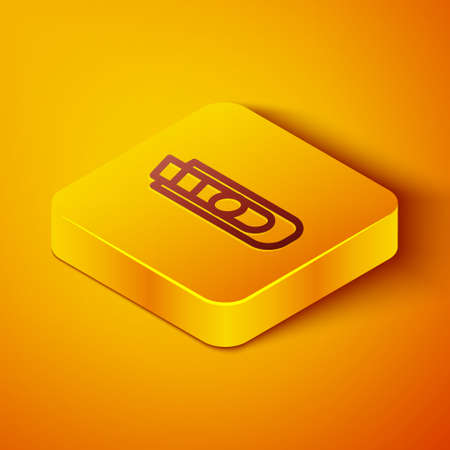 Isometric line Stationery knife icon isolated on orange background. Office paper cutter. Yellow square button. Vector Illustration