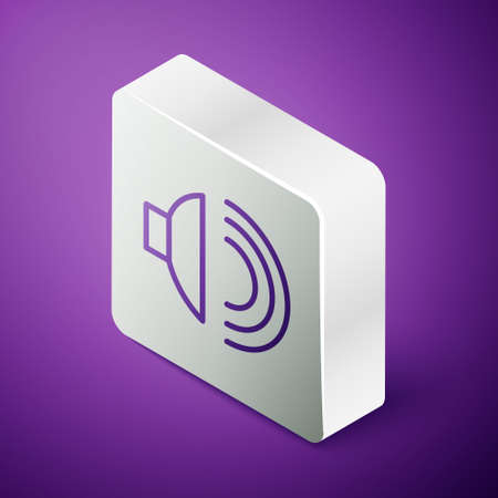 Isometric line Speaker volume, audio voice sound symbol, media music icon isolated on purple background. Silver square button. Vector Illustration  イラスト・ベクター素材