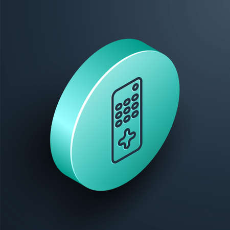 Isometric line Remote control icon isolated on black background. Turquoise circle button. Vector Illustration  イラスト・ベクター素材