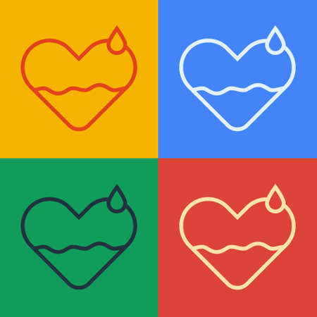 Pop art line Heart heal icon isolated on color background. Vector Illustration  イラスト・ベクター素材
