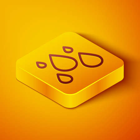Isometric line Water drop icon isolated on orange background. Yellow square button. Vector Illustration
