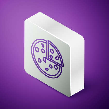 Isometric line Pizza icon isolated on purple background. Fast food menu. Silver square button. Vector Illustration