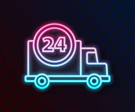 Glowing neon line Fast round the clock delivery by truck icon isolated on black background. Vector Illustration
