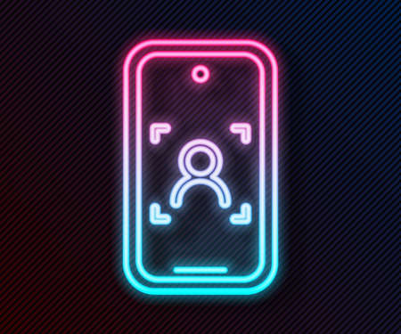 Glowing neon line Mobile phone and face recognition icon isolated on black background. Face identification scanner icon. Facial id. Cyber security. Vector  イラスト・ベクター素材