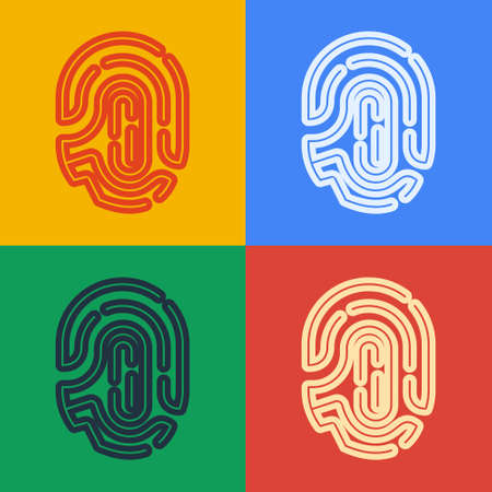 Pop art line Fingerprint icon isolated on color background. ID app icon. Identification sign. Touch id. Vector