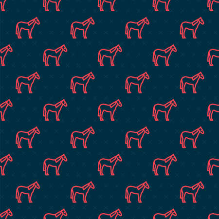 Red line Horse icon isolated seamless pattern on black background. Animal symbol. Vector  イラスト・ベクター素材