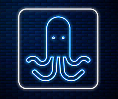 Glowing neon line Octopus icon isolated on brick wall background. Vector