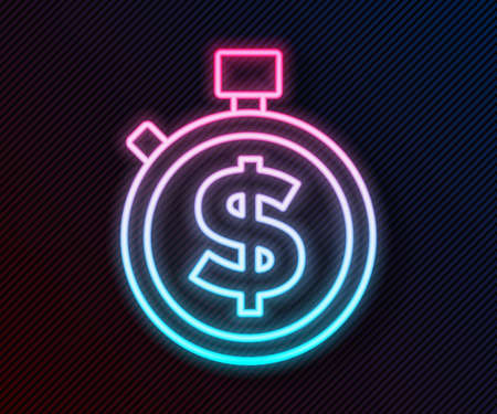 Glowing neon line Time is money icon isolated on black background. Money is time. Effective time management. Convert time to money. Stopwatch sign. Vector  イラスト・ベクター素材