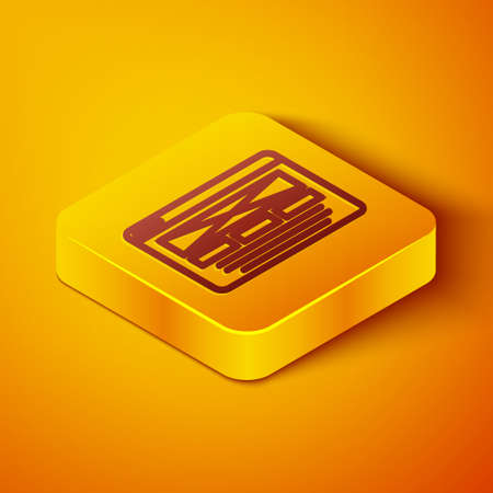 Isometric line UI or UX design icon isolated on orange background. Yellow square button. Vector