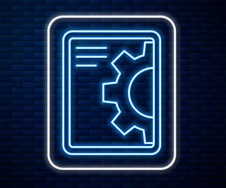 Glowing neon line Software, web development, programming concept icon isolated on brick wall background. Programming language and program code on screen tablet. Vector  イラスト・ベクター素材