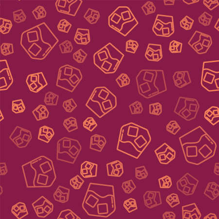 Brown line Glass of whiskey and ice cubes icon isolated seamless pattern on red background. Vector