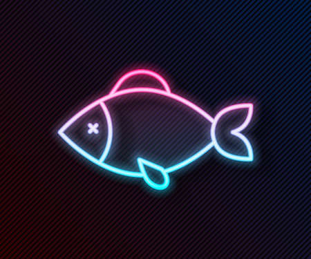 Glowing neon line Fish icon isolated on black background. Vector  イラスト・ベクター素材