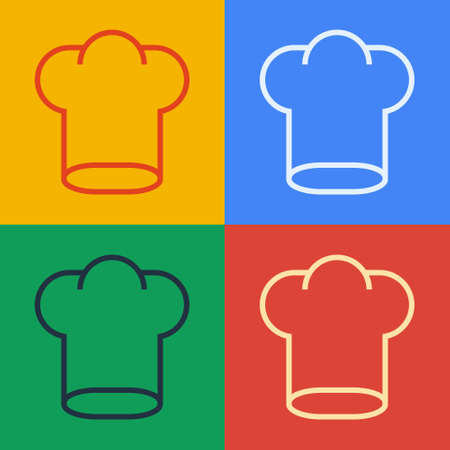Pop art line Chef hat icon isolated on color background. Cooking symbol. Cooks hat. Vector