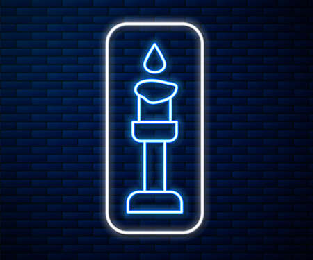 Glowing neon line Burning candle icon isolated on brick wall background. Cylindrical aromatic candle stick with burning flame. Happy Halloween party. Vector