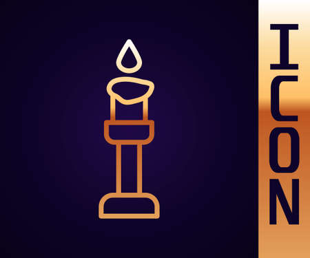 Gold line Burning candle icon isolated on black background. Cylindrical aromatic candle stick with burning flame. Happy Halloween party. Vector