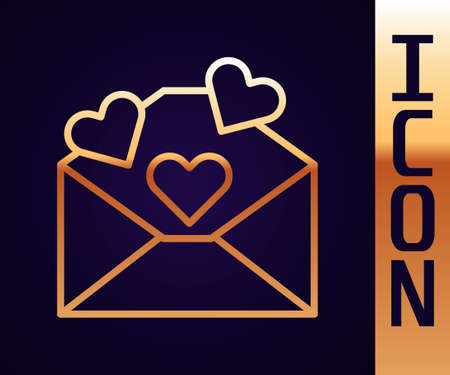 Gold line Envelope with Valentine heart icon isolated on black background. Message love. Letter love and romance. Vector