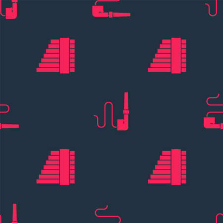Set Pan flute and Smoking pipe on seamless pattern. Vector