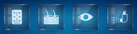 Set Pills in blister pack, Hair covering skin, Blindness and Inhaler. Square glass panels. Vector