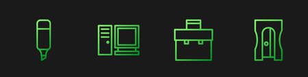 Set line Briefcase, Marker pen, Computer monitor and Pencil sharpener. Gradient color icons. Vector