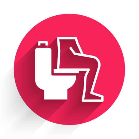 White Men sitting on the toilet and Constipation are experiencing severe abdominal pain icon isolated with long shadow. Red circle button. Vector