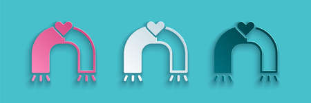 Paper cut Love magnet icon isolated on blue background. Paper art style. Vector Ilustrace